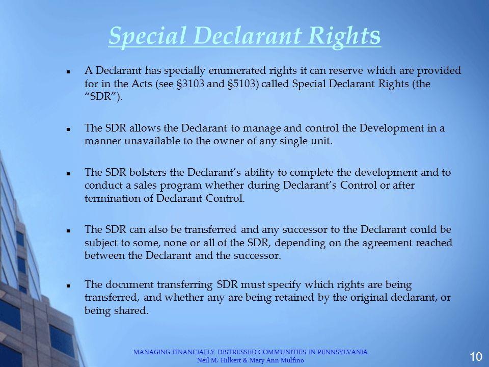 Special Declarant Rights