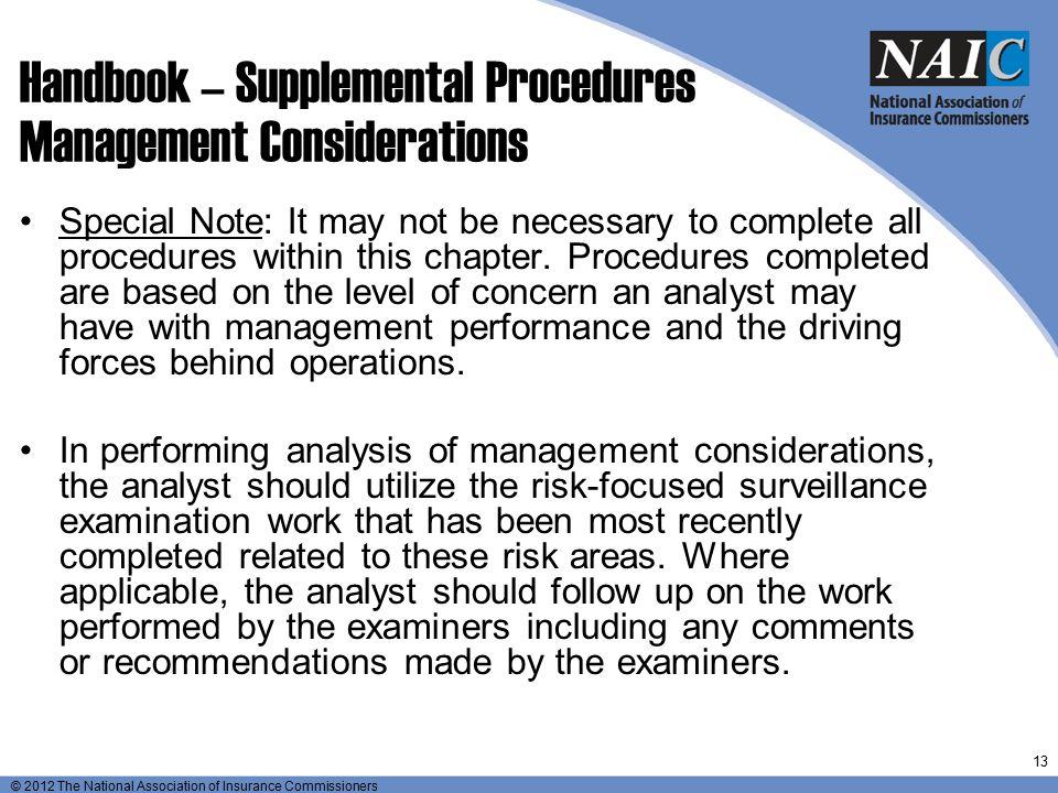 Handbook – Supplemental Procedures Management Considerations