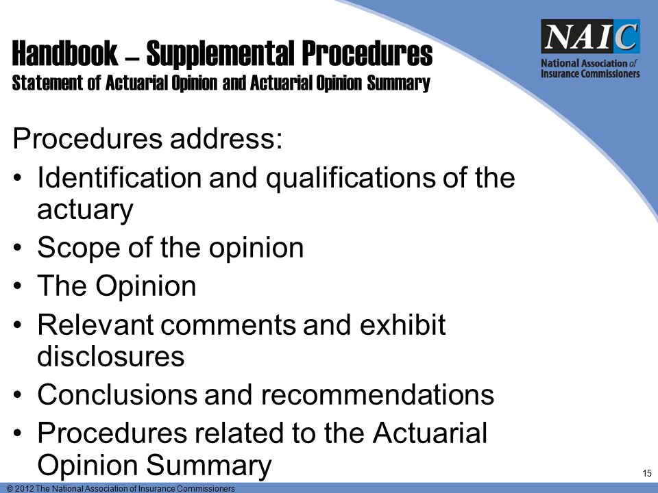 Handbook – Supplemental Procedures Statement of Actuarial Opinion and Actuarial Opinion Summary