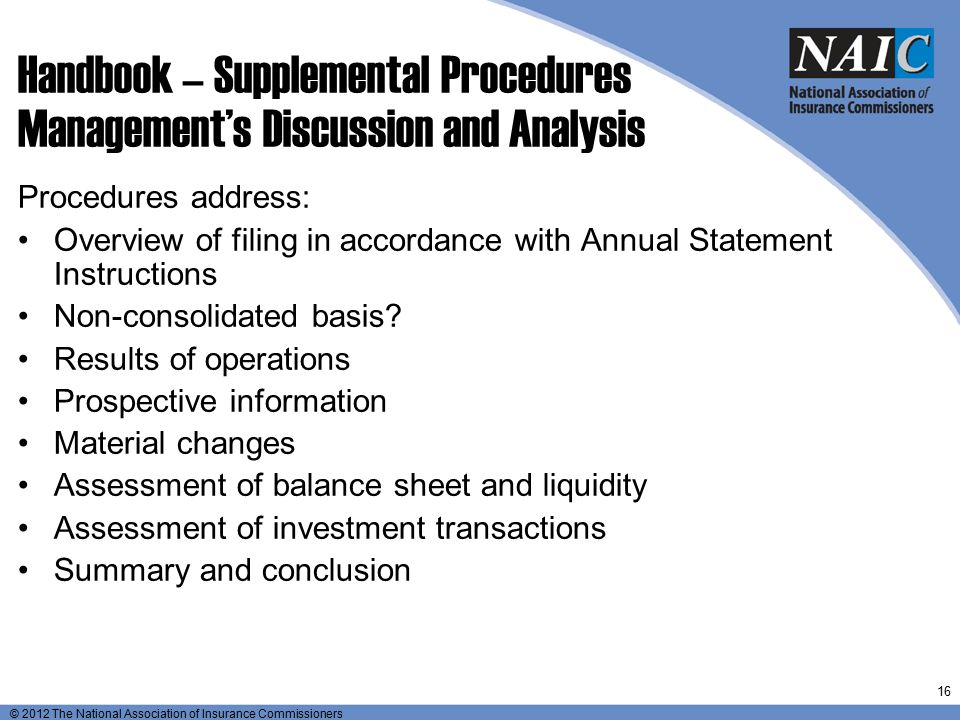 Handbook – Supplemental Procedures Management's Discussion and Analysis
