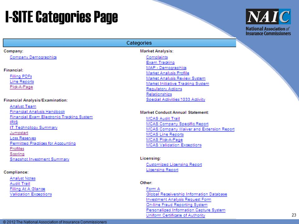 I-SITE Categories Page