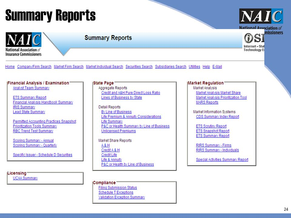 Summary Reports Some of the key reports: FAH sum, RBC Trend, Lead state, IRIS sum, permitted practice, prioritization, and scoring reports.