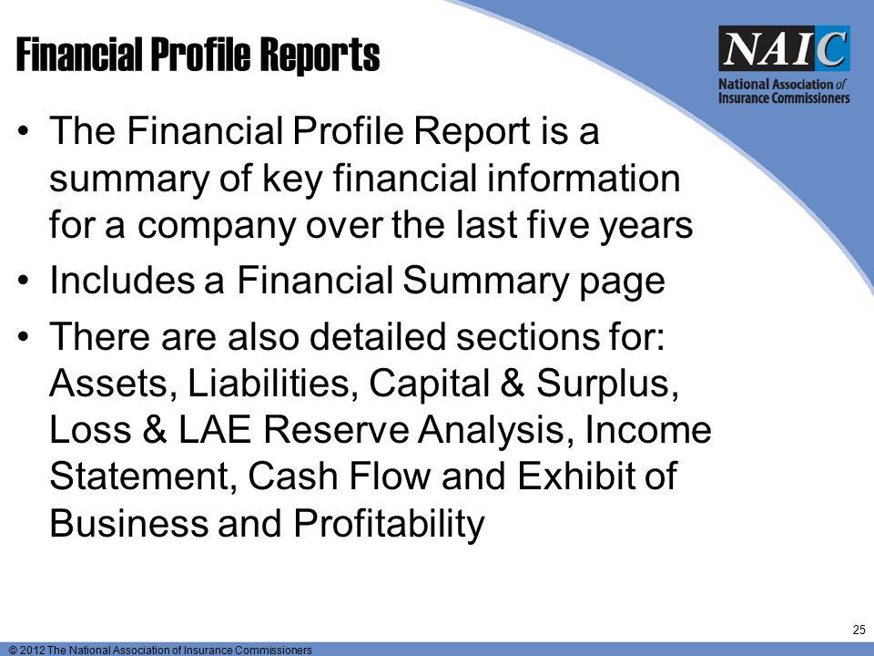 Financial Profile Reports