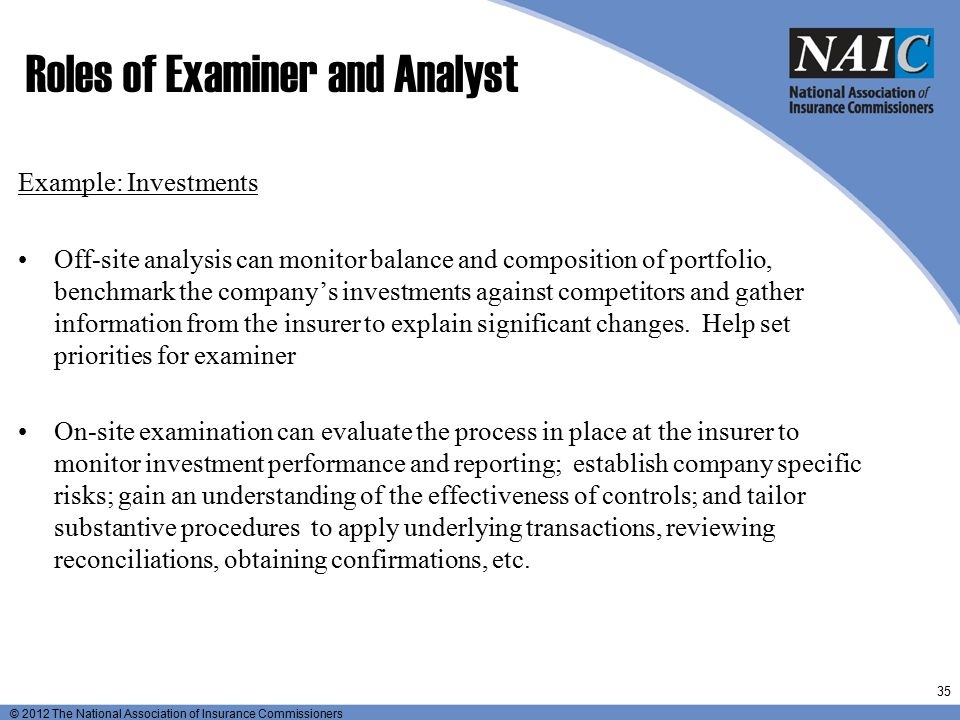 Roles of Examiner and Analyst