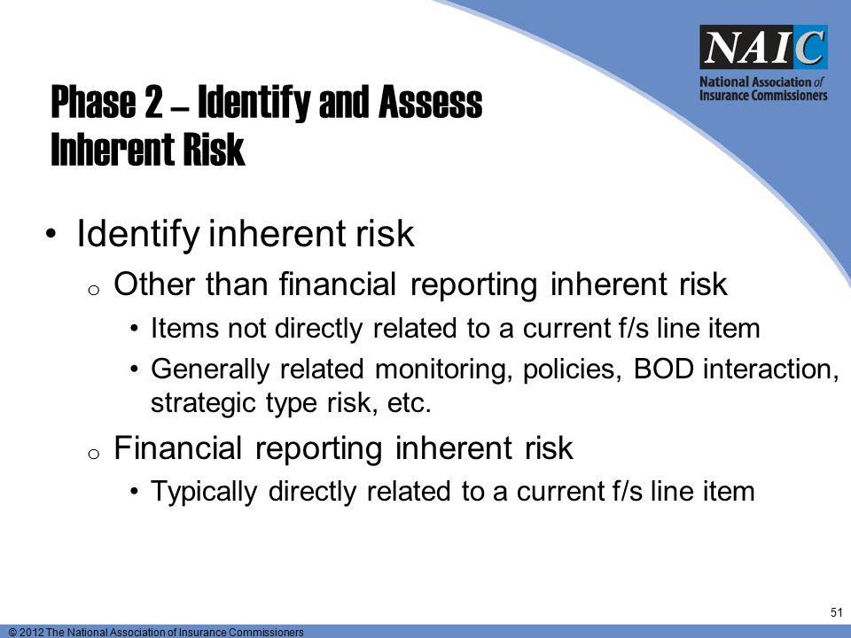 Preliminary assessment inherent risk and key