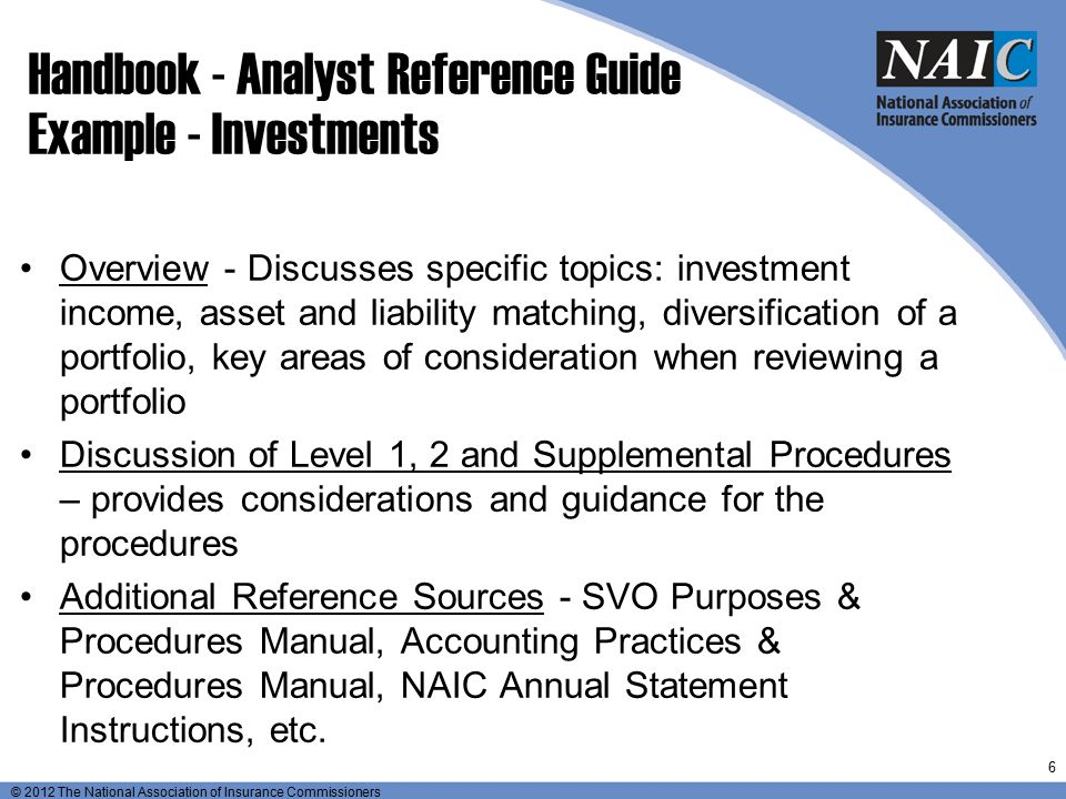 Handbook - Analyst Reference Guide Example - Investments