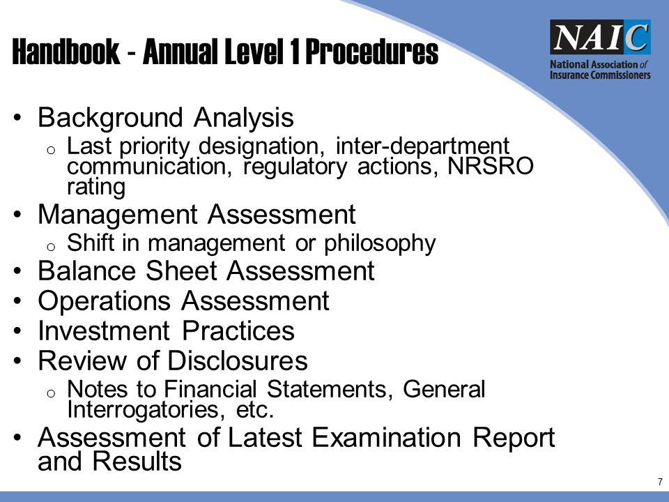 Handbook - Annual Level 1 Procedures