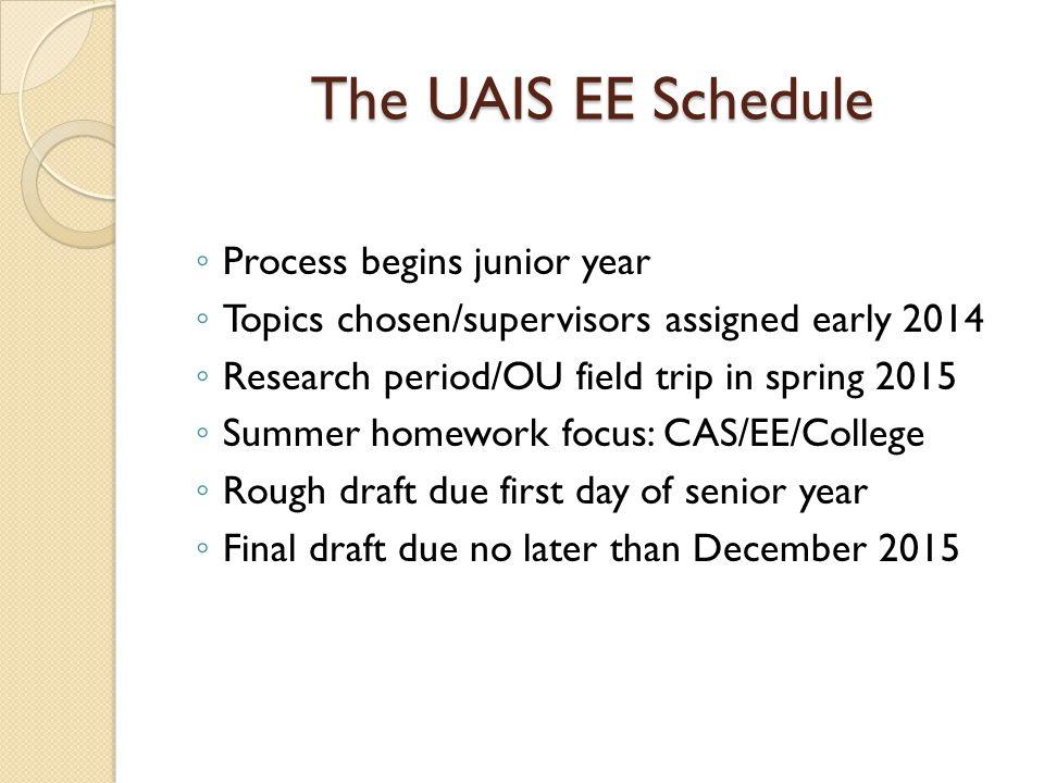 The UAIS EE Schedule Process begins junior year