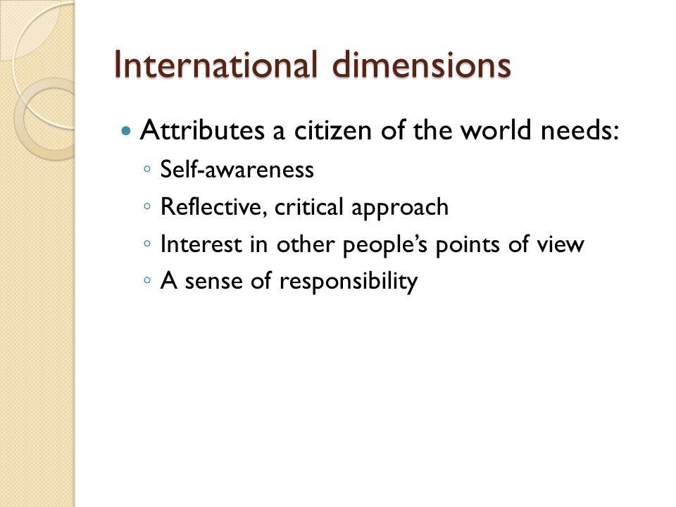 International dimensions