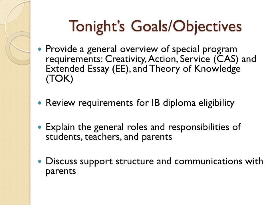 Tonight's Goals/Objectives