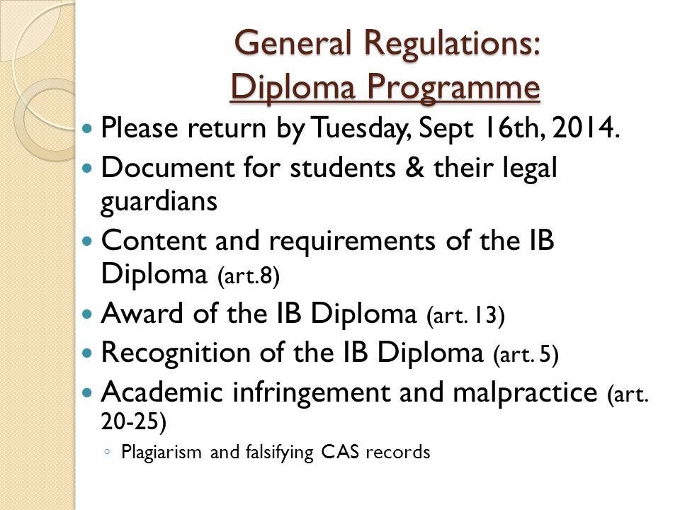 General Regulations: Diploma Programme