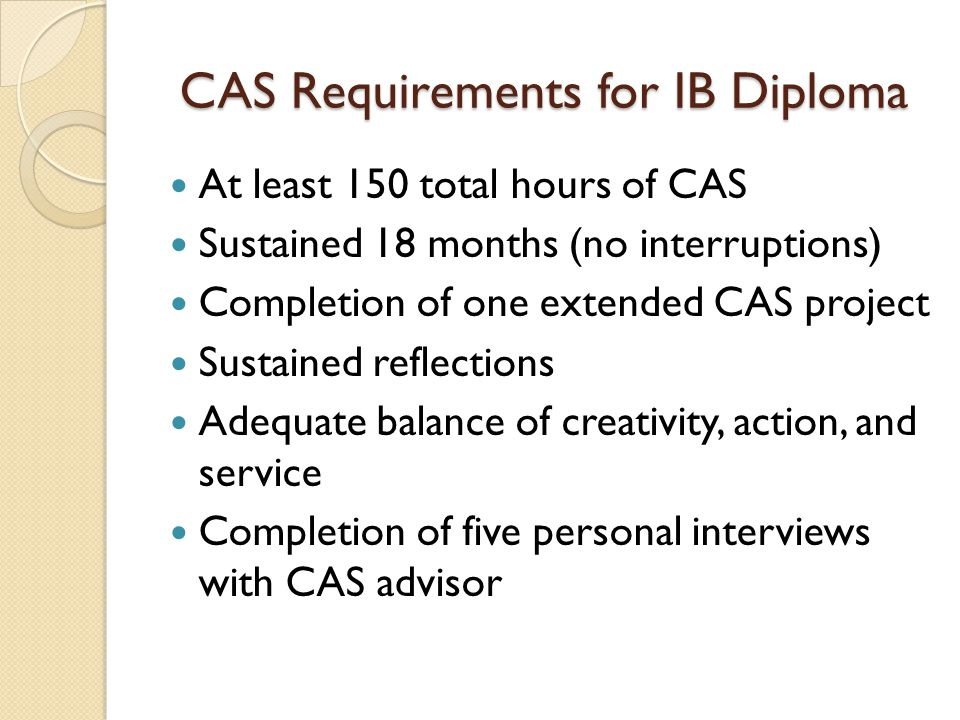 CAS Requirements for IB Diploma