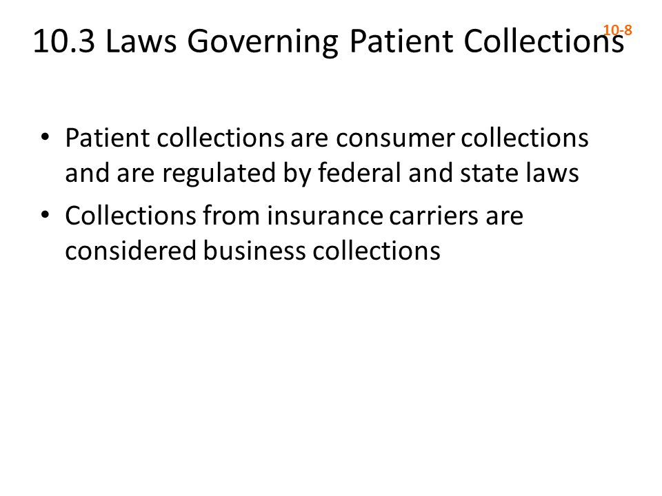 10.3 Laws Governing Patient Collections