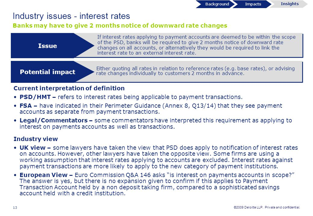 Industry issues - interest rates