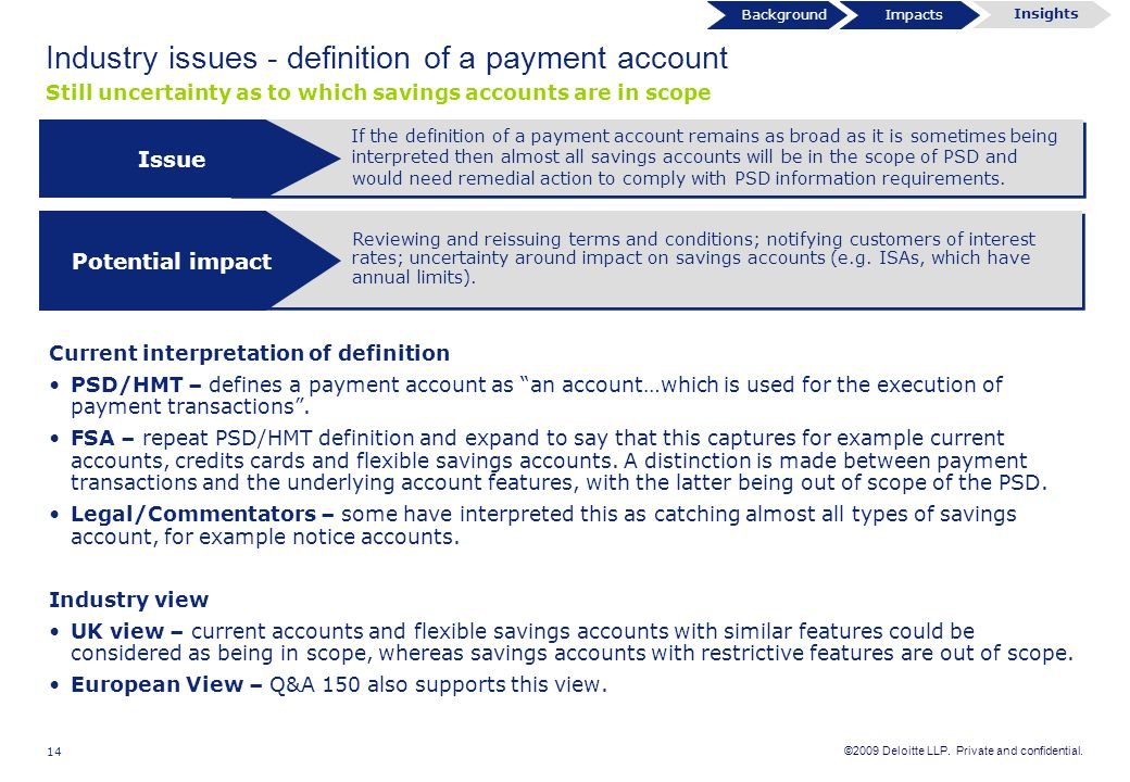 Industry issues - definition of a payment account