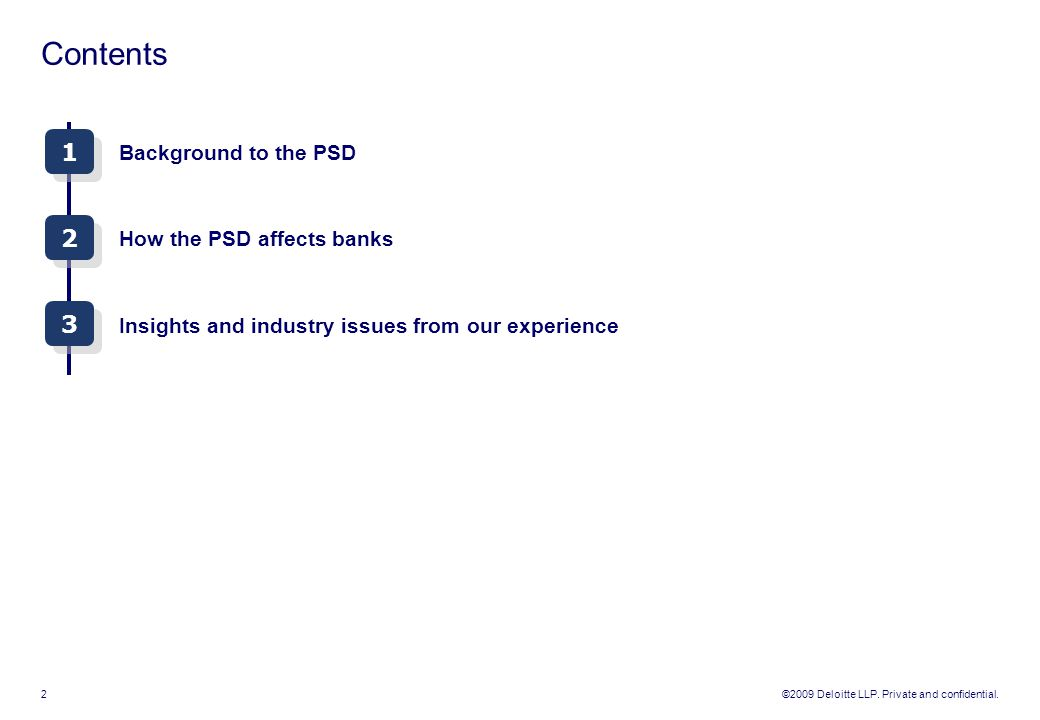 Contents 1 2 3 Background to the PSD How the PSD affects banks