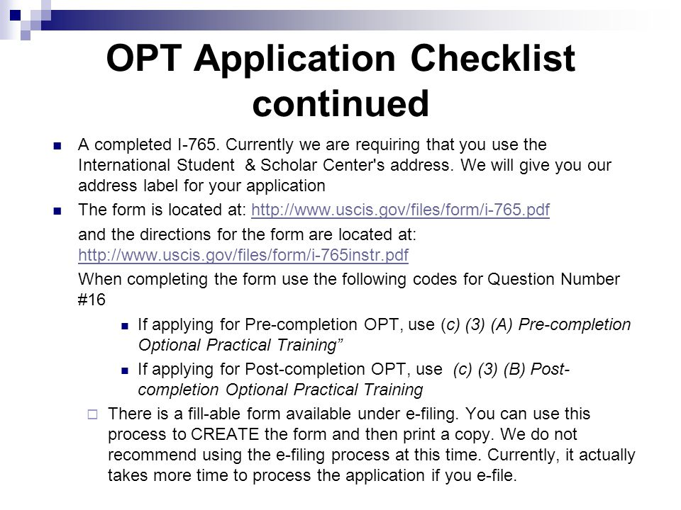 OPT Application Checklist continued