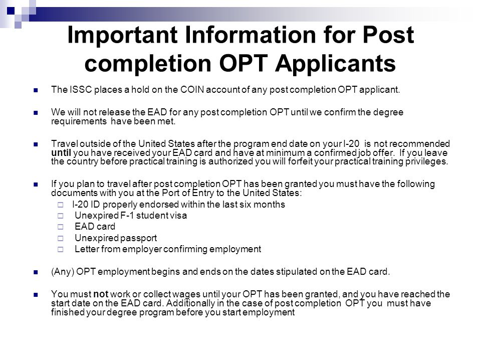 Important Information for Post completion OPT Applicants