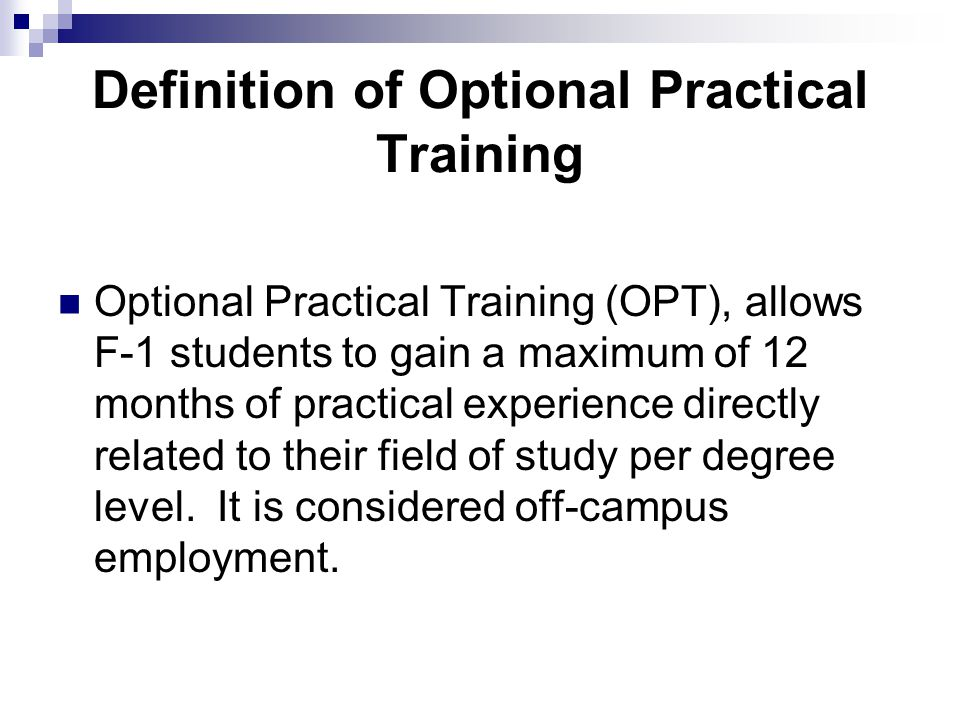 Definition of Optional Practical Training