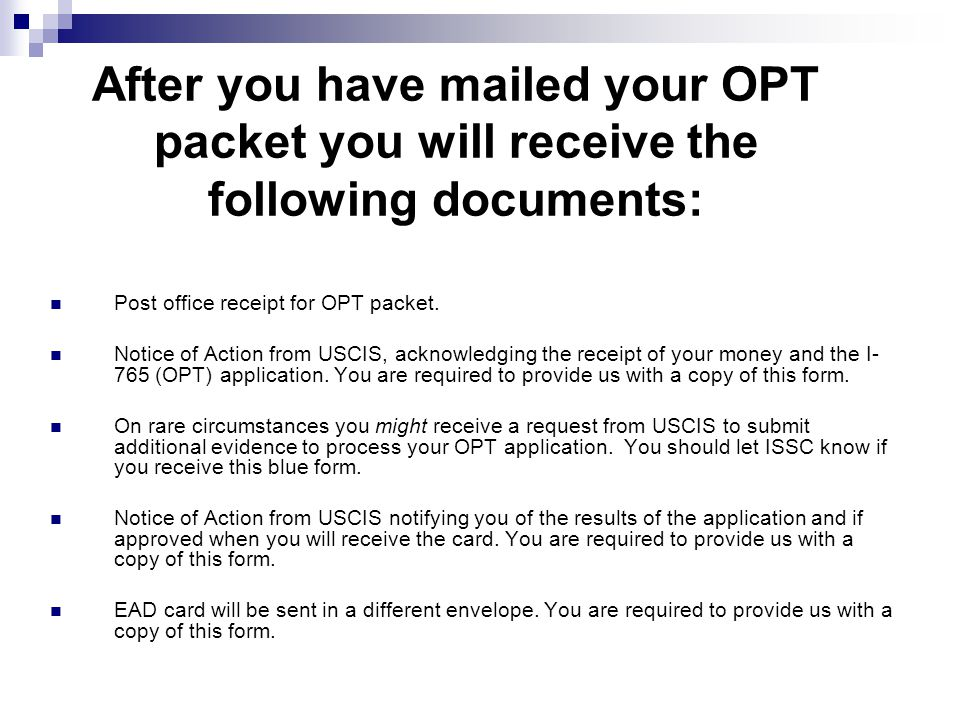 After you have mailed your OPT packet you will receive the following documents: