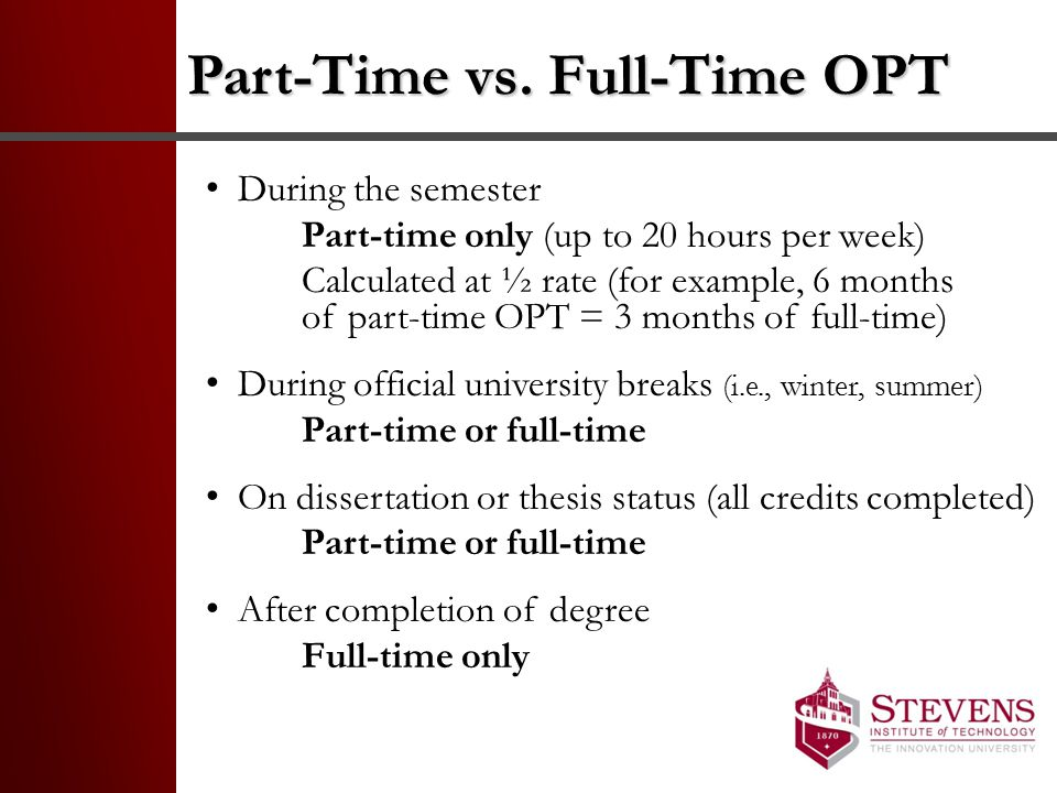 Part-Time vs. Full-Time OPT