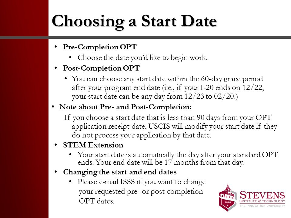 Choosing a Start Date Pre-Completion OPT