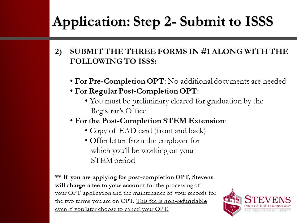 Application: Step 2- Submit to ISSS