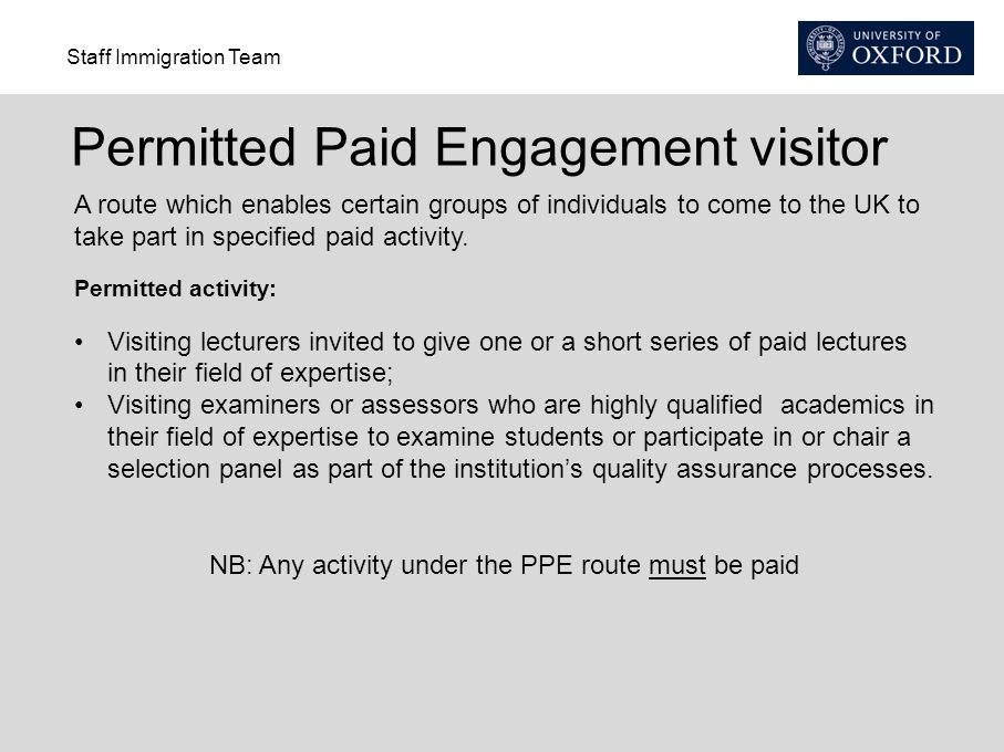 NB: Any activity under the PPE route must be paid