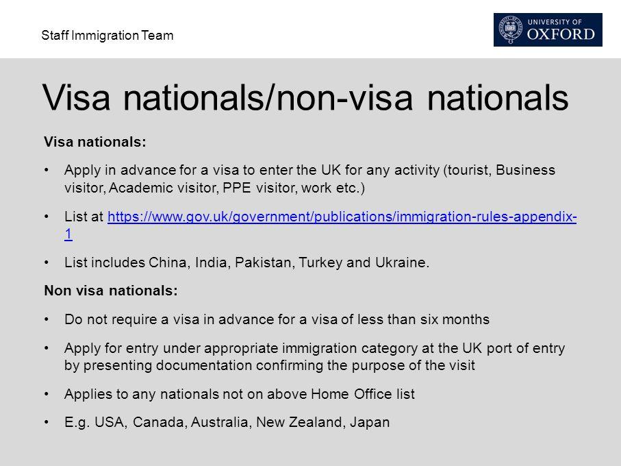 Visa nationals/non-visa nationals