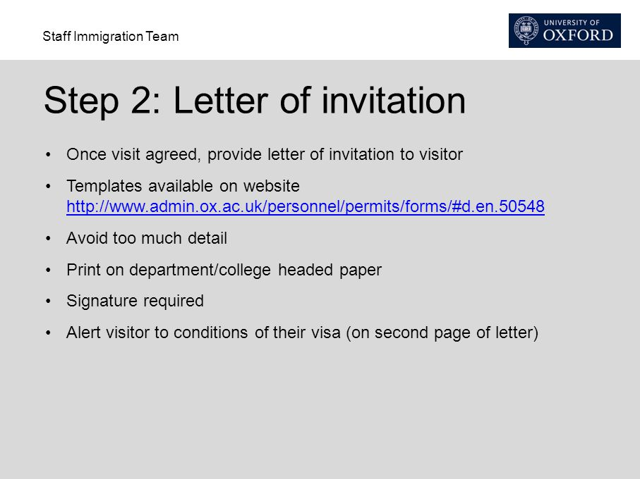 Step 2: Letter of invitation