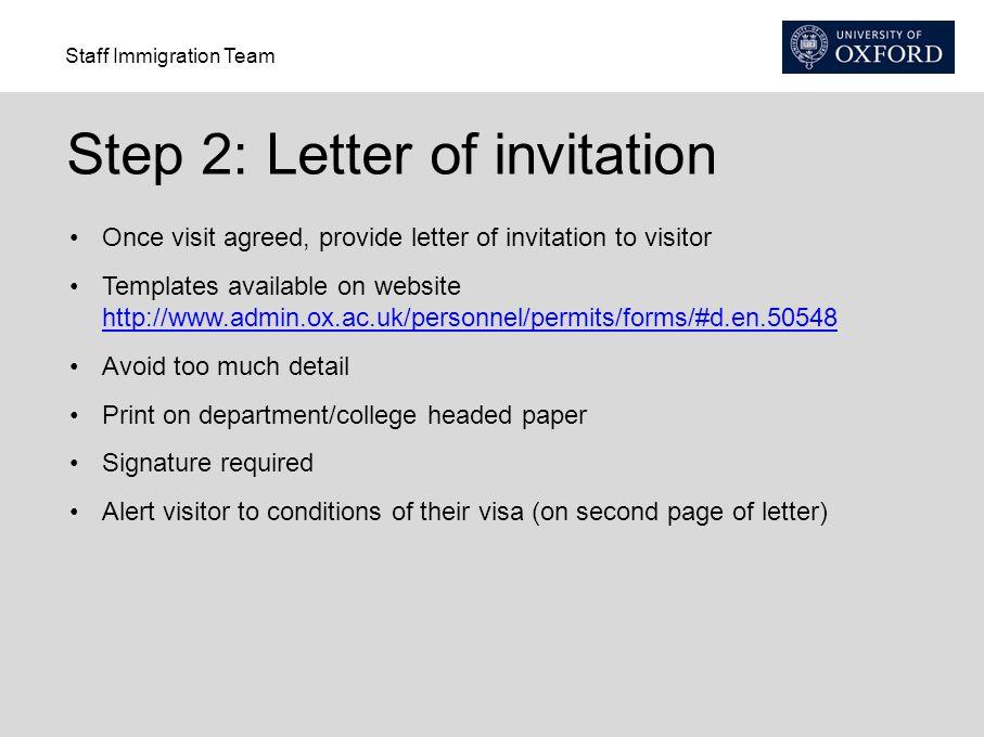 Step 2: Letter of invitation