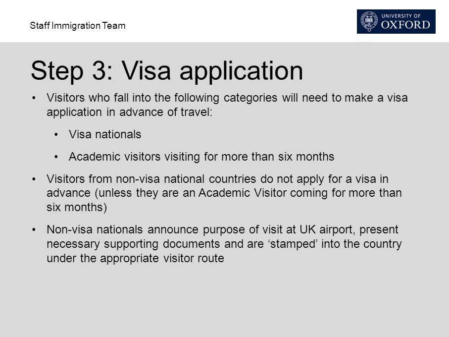 Step 3: Visa application