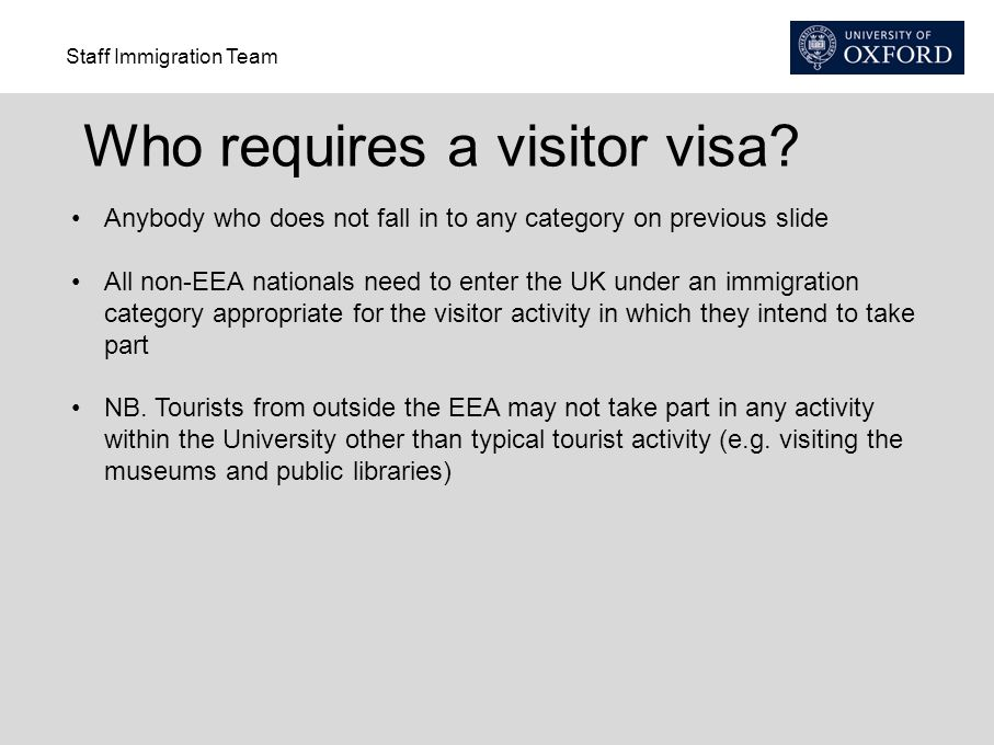 Who requires a visitor visa