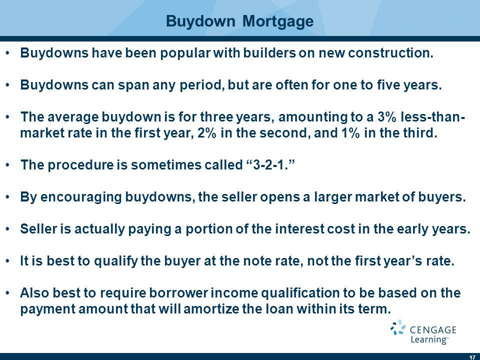 Buydown Mortgage Buydowns have been popular with builders on new construction. Buydowns can span any period, but are often for one to five years.
