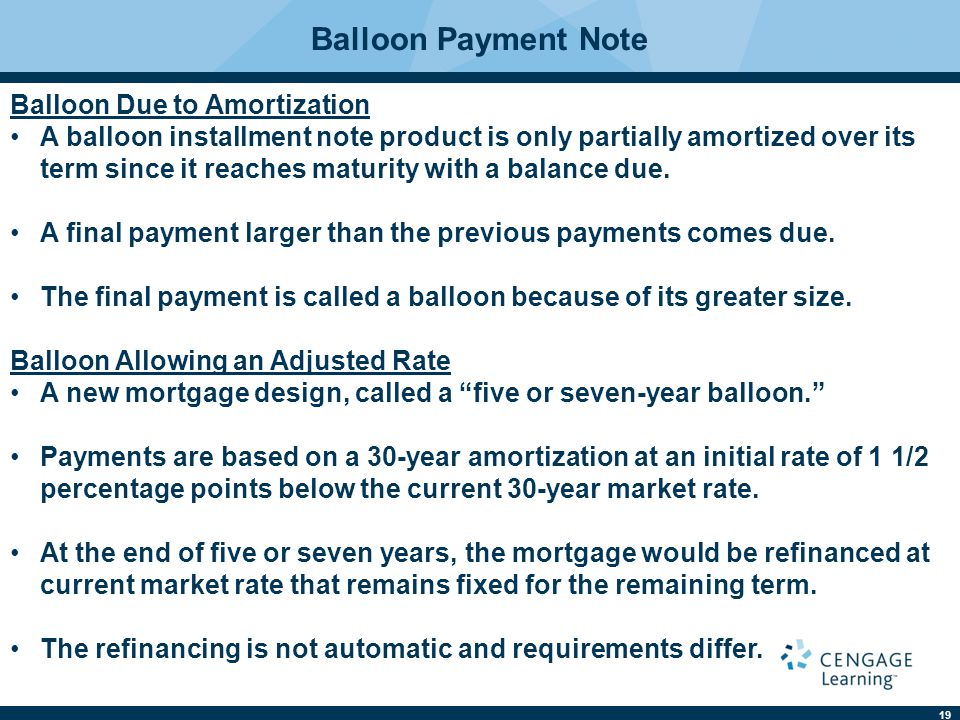 Balloon Payment Note Balloon Due to Amortization