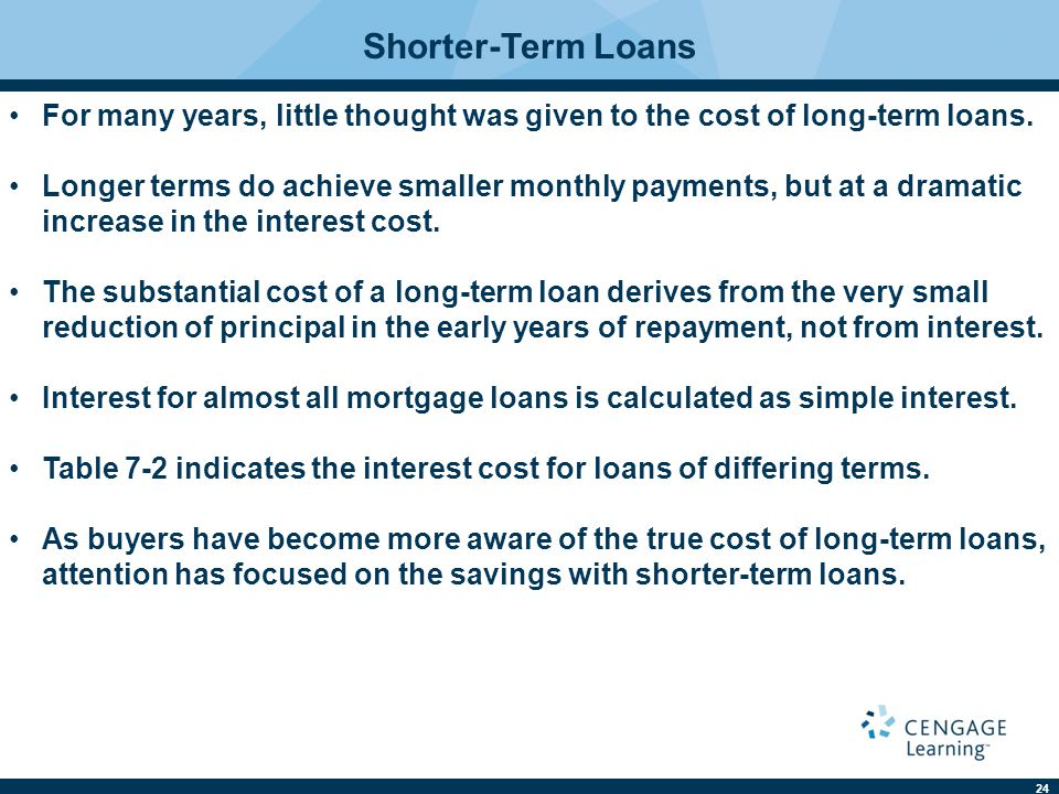Shorter-Term Loans For many years, little thought was given to the cost of long-term loans.