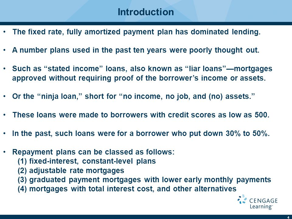 Introduction The fixed rate, fully amortized payment plan has dominated lending. A number plans used in the past ten years were poorly thought out.