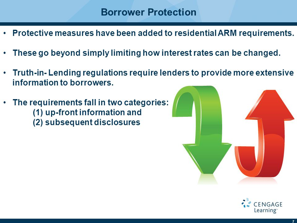 Borrower Protection Protective measures have been added to residential ARM requirements.