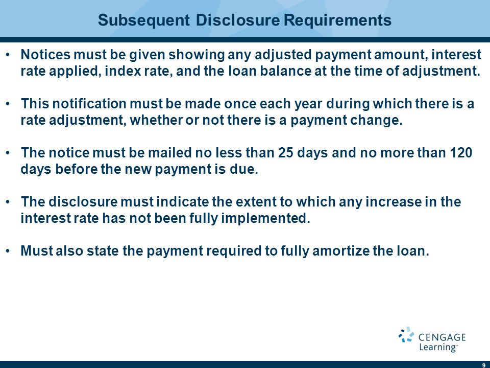 Subsequent Disclosure Requirements
