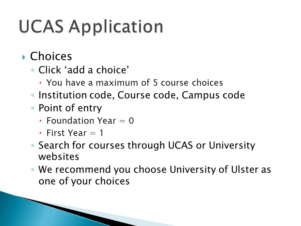 UCAS Application Choices Click 'add a choice'