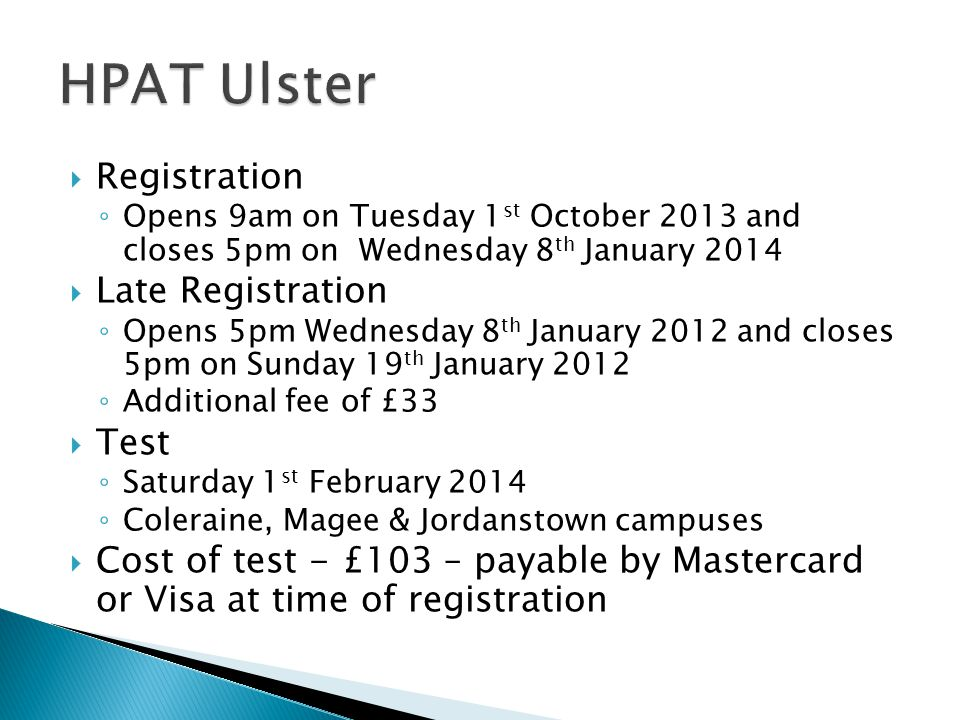 HPAT Ulster Registration Late Registration Test