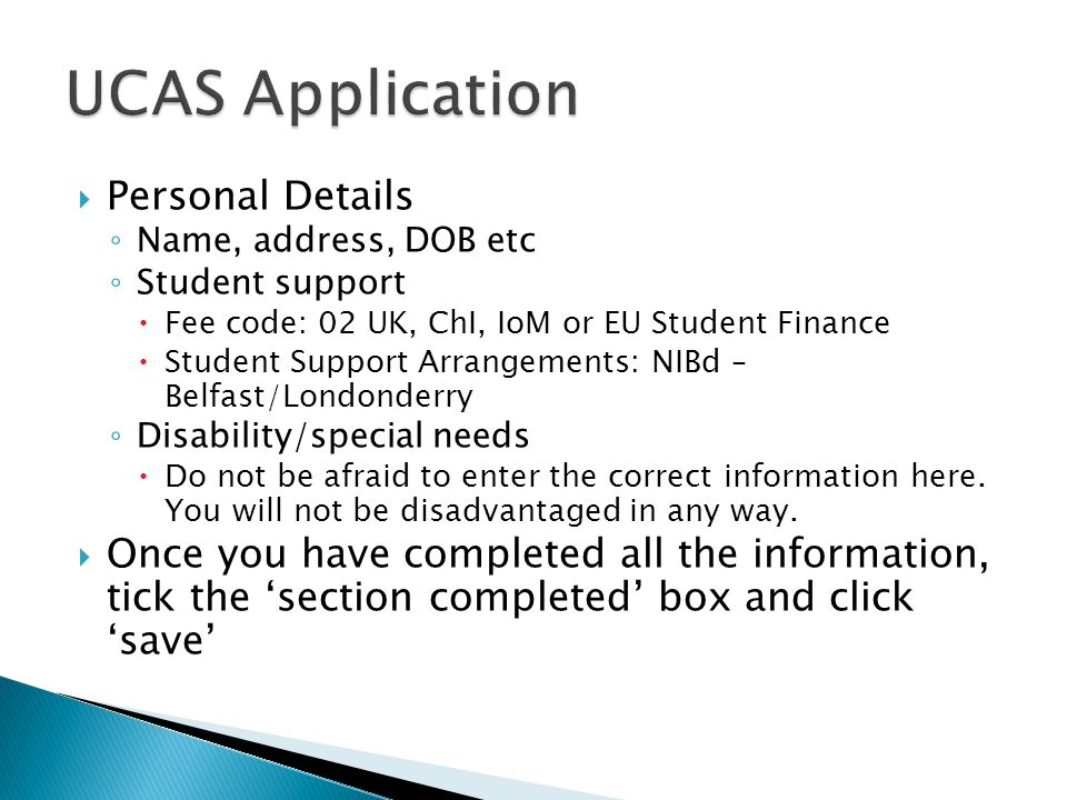 UCAS Application Personal Details