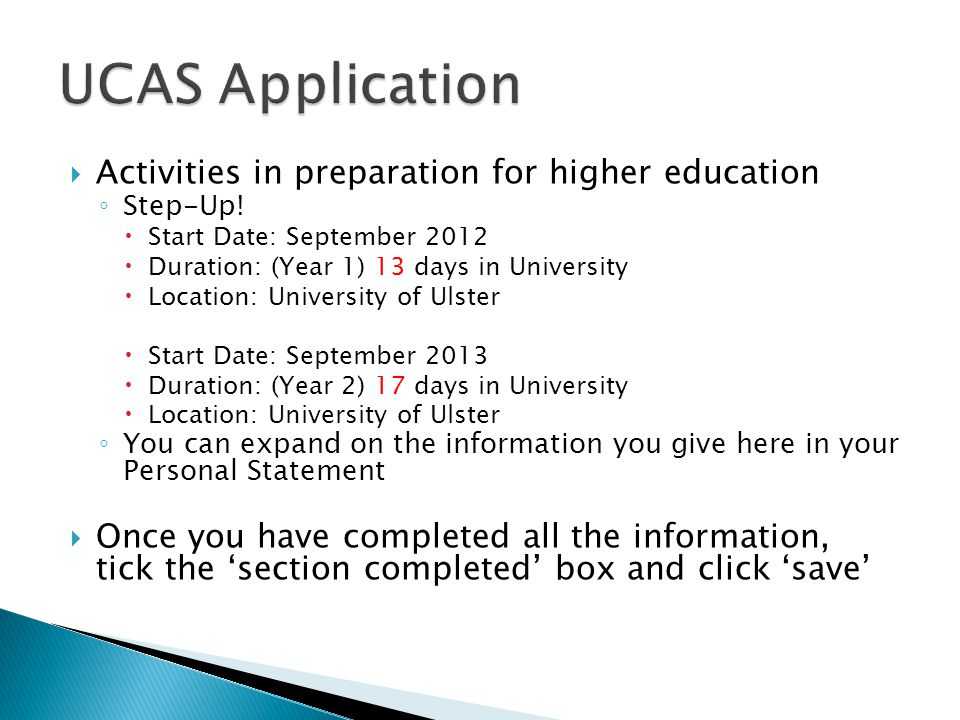 UCAS Application Activities in preparation for higher education