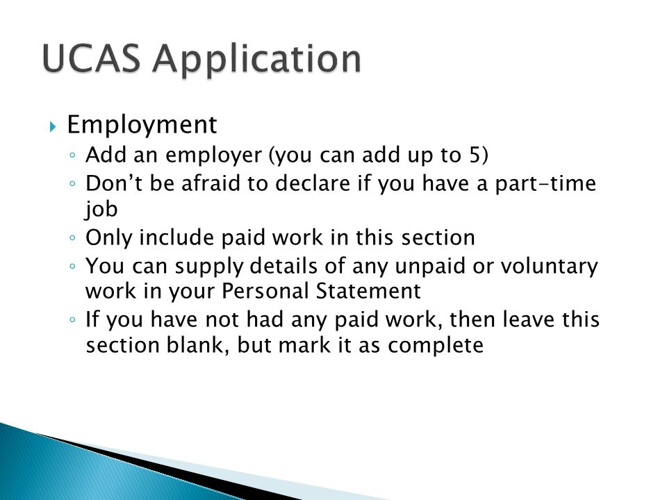 UCAS Application Employment Add an employer (you can add up to 5)