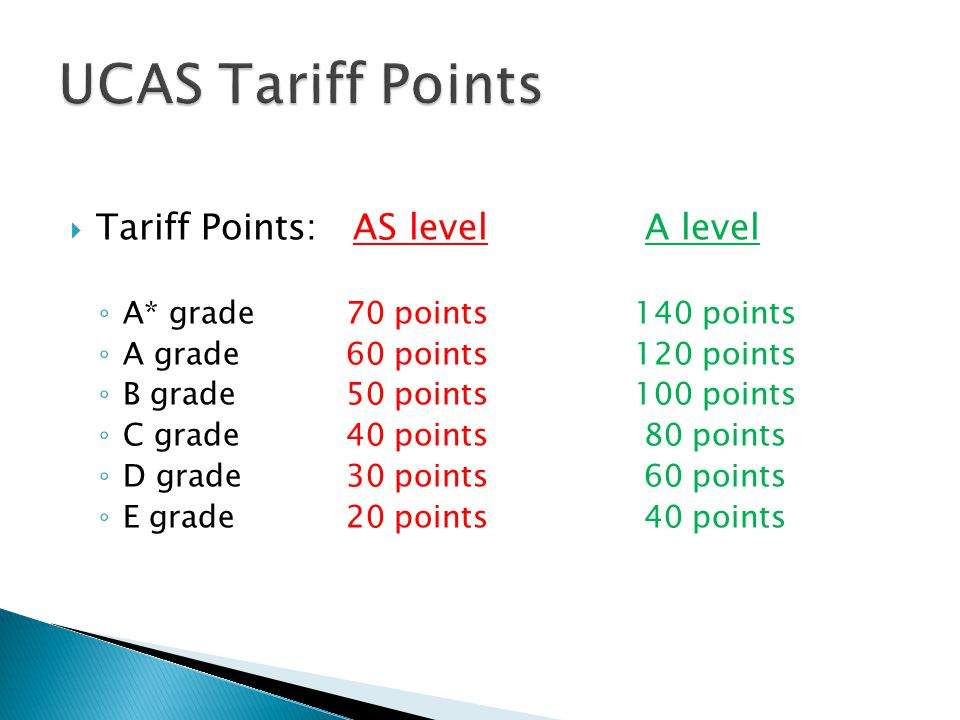 UCAS Tariff Points Tariff Points: AS level A level