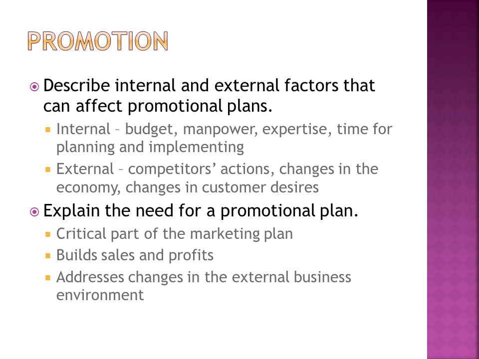Promotion Describe internal and external factors that can affect promotional plans.