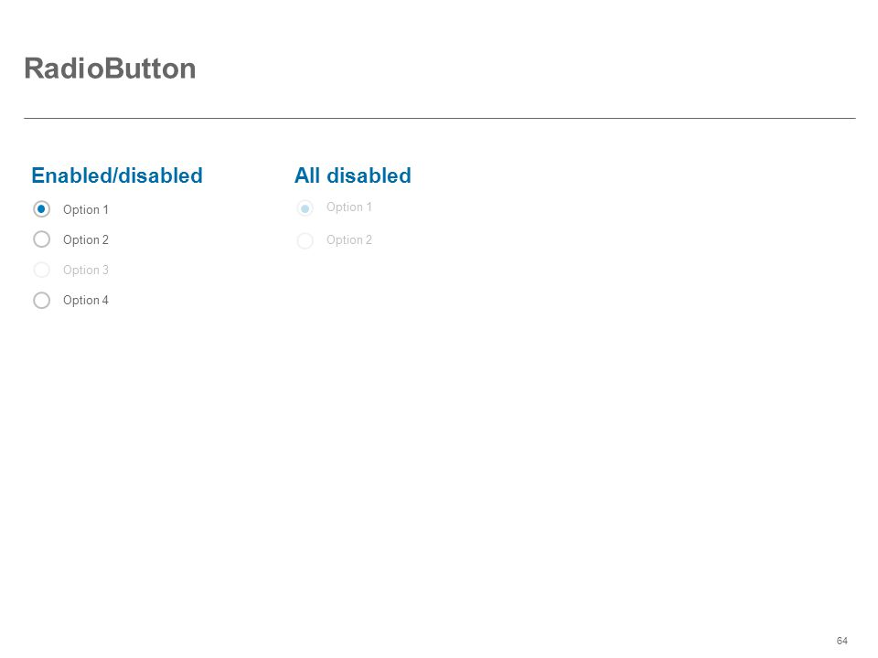 RadioButton Enabled/disabled All disabled Option 1 Option 2 Option 3