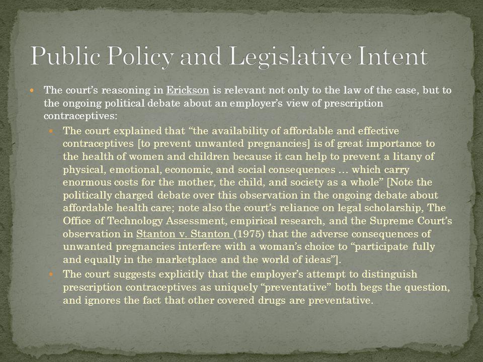 Public Policy and Legislative Intent