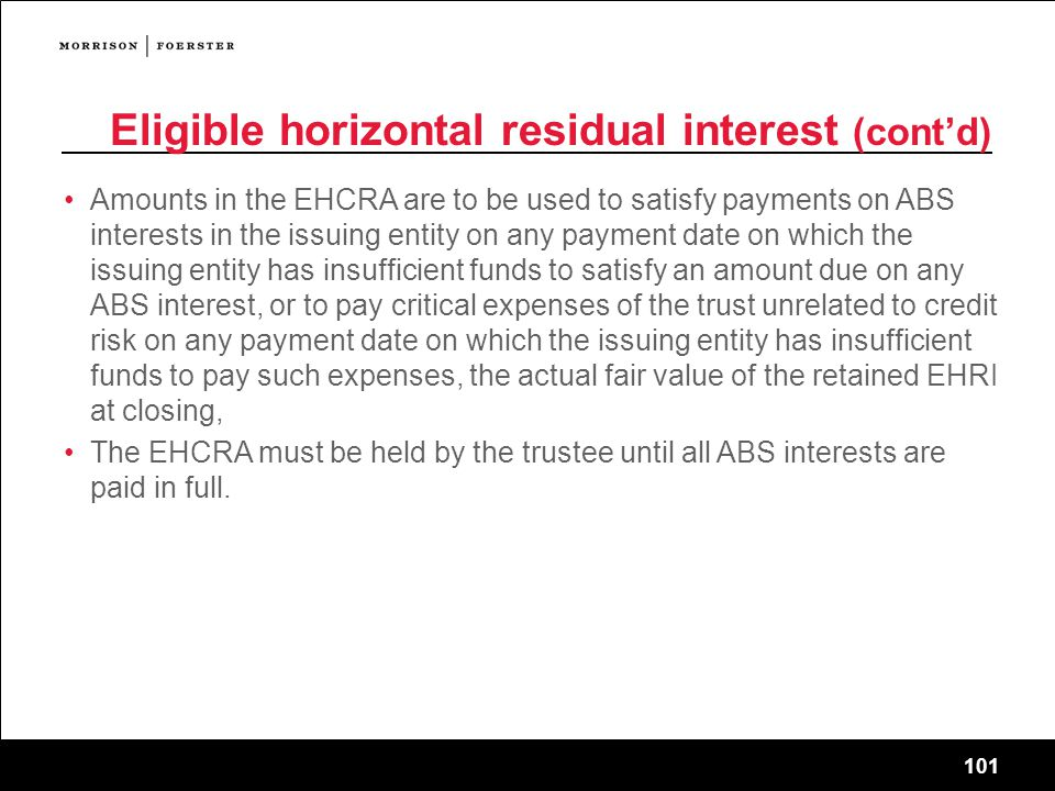 Eligible horizontal residual interest (cont'd)