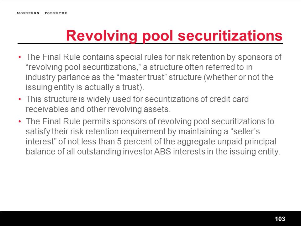 Revolving pool securitizations